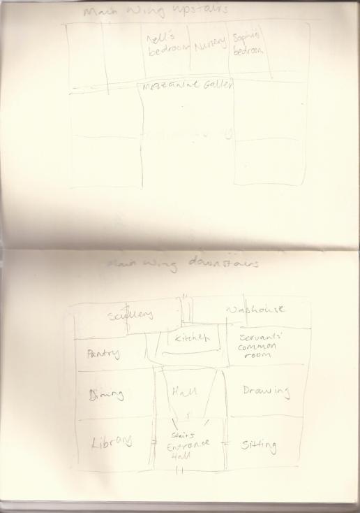 A rough floor plan of Greythorne Manor.